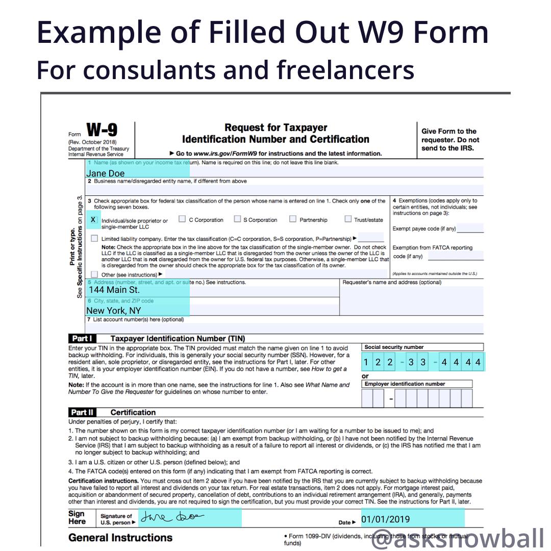 W9 Tax Form Sample